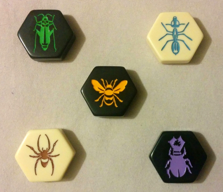 The five types of pieces used in Hive.